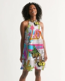 Urban Graffiti Halter Dress